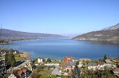 pic of annecy  - Large view of Annecy blue lake from Duingt and Taillefer mountain Savoy France - JPG