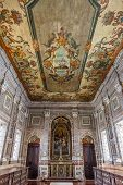 Lisbon, Portugal - September 15, 2013: 18th century painted ceiling of the baroque Sacristy. Sao Vic
