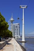 Lisbon, Portugal - August 02, 2013: Vasco da Gama Tower, the Myriad Hotel, the aerial tramway in the