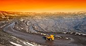foto of iron ore  - Dump trucks and roads to deliver ore and auxiliary cargo career on extraction of iron ore - JPG