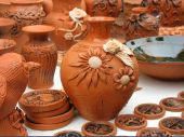 Handmade Clay Pots In A Workshop From Europe poster