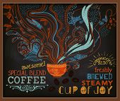 stock photo of steamy  - Chalkboard Poster for Coffee Shop  - JPG