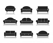 picture of flat-bed  - Modern luxury sofas and couches furniture icons set for living room vector illustration - JPG