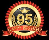 95 Years Happy Birthday Golden Label With Ribbons, Vector Illustration