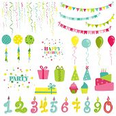 stock photo of confetti  - Birthday and Party Set  - JPG