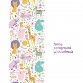 Cute childish seamless pattern with lion, tiger, zebra, hippopotamus, koala and elephant. Can be use