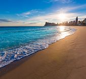 pic of costa blanca  - Benidorm Alicante playa de Poniente beach sunset in spain Valencian community - JPG