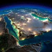 stock photo of qatar  - Highly detailed Earth illuminated by moonlight - JPG