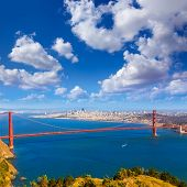 Golden Gate Bridge San Francisco GGB from Marin headlands in California USA