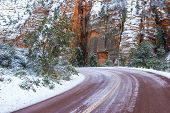stock photo of icy road  - Winter Landscape with a curved icy road - JPG