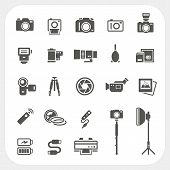 pic of neutral  - Camera icons and Camera Accessories icons set isolated on white background - JPG