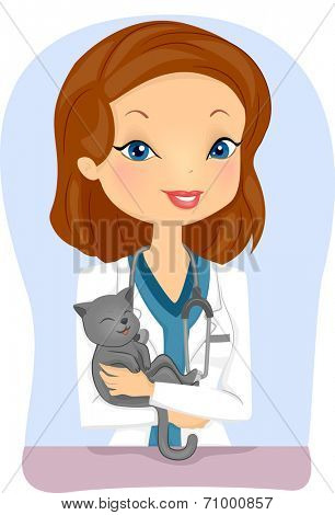 Illustration of a Female Veterinarian Holding a Cat