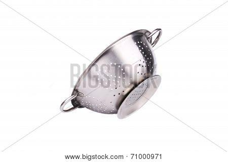 Steel strainer sieve metal bowl.
