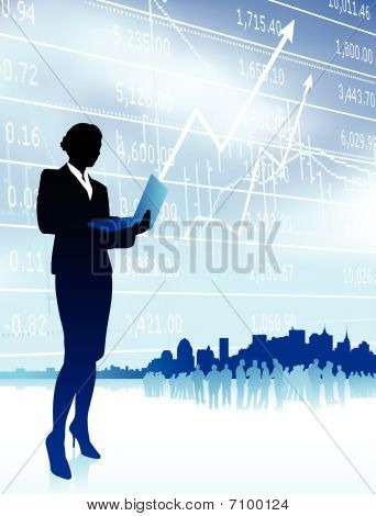 Businesswoman Holding Computer Laptop Internet Background With C