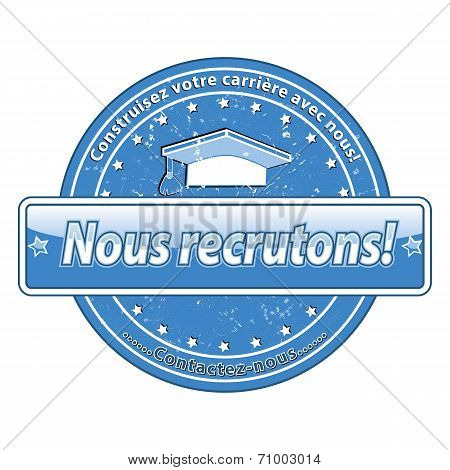 Blue French hiring stamp for recruitment companies.
