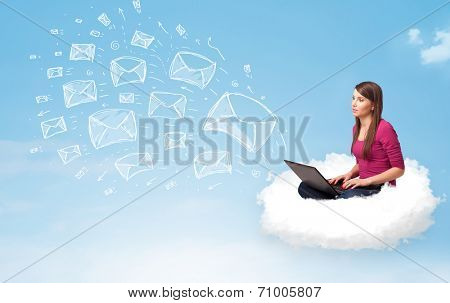 Pretty young woman sitting in cloud with laptop, sketched mails concept