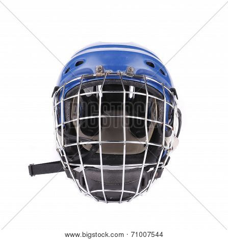 Blue hockey goalie mask.