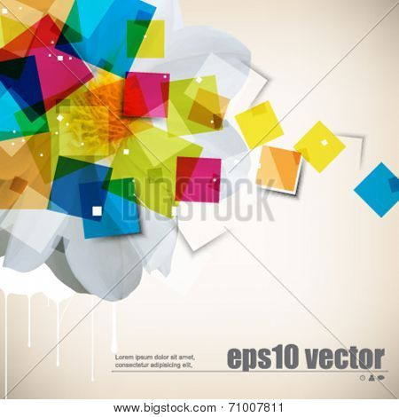 eps10 vector multicolor flower and square shapes background