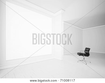 White interior with office armchair and blank poster on a wall
