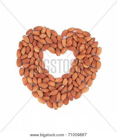 Almonds nuts in heart shape.
