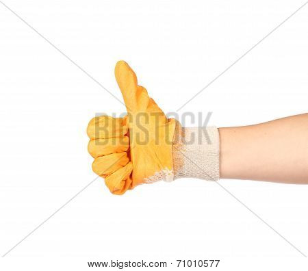 Thumbs up with a orange rubber glove.