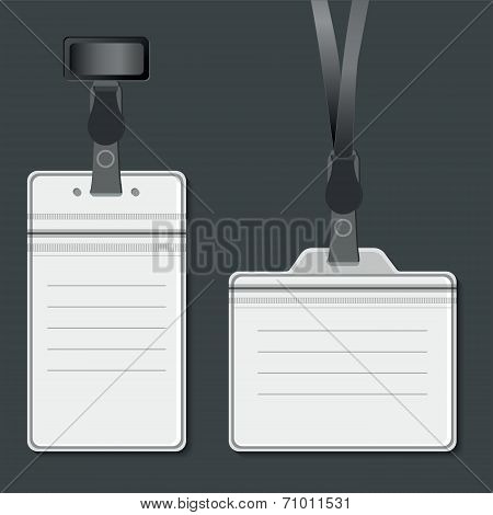 Lanyard. Retractor End Badge. Vector Eps10