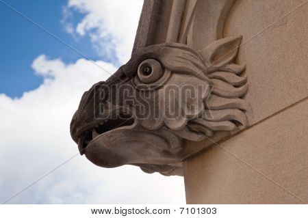 Carved Gargoyle On Church