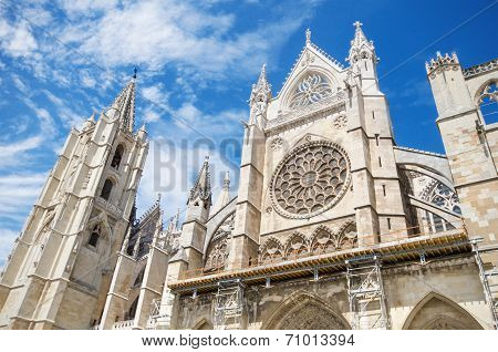 Detail of the facade of Leon Cathedral Castilla y Leon Spain.