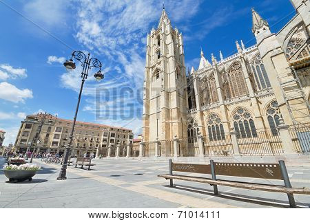 Tourist visiting famous landmark Leon Cathedral Castilla y Leon Spain on August 22 2014.