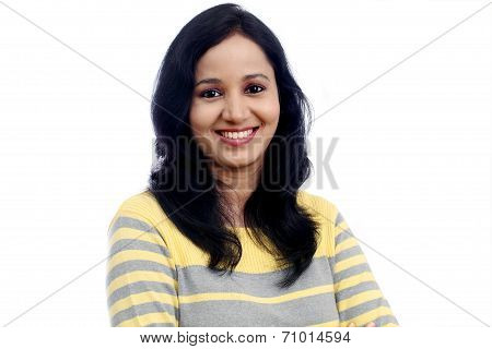 Portrait Of Young Woman Against White