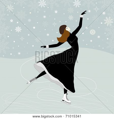 Christmas Greeting Card With A Girl Skater