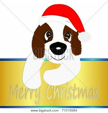 Saint Bernard dog wishing Merry Christmas