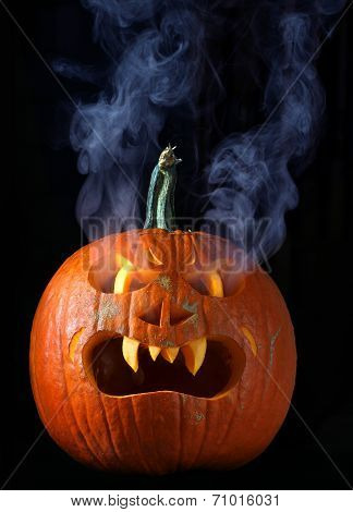 Smoking Halloween pumpkin head