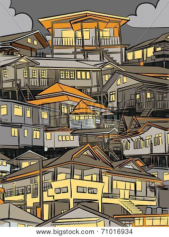 Editable vector illustration of closely packed houses on a hillside at night