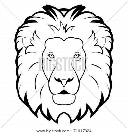 black and white illustration of lion