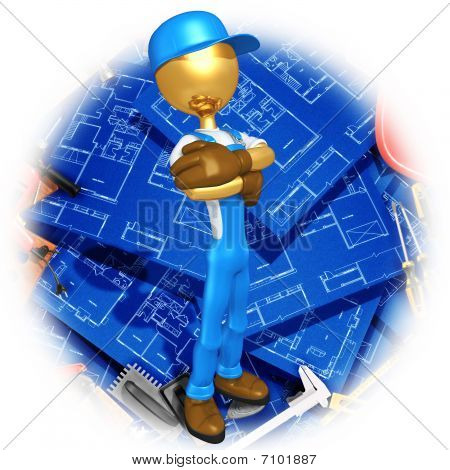 Gold Guy Construction Worker With Blueprints