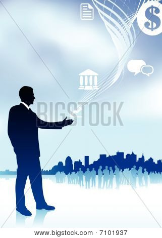 Businessman With Icons New York Skyline And Internet Background