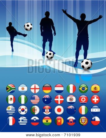 Soccer Team On Abstract Blue Background