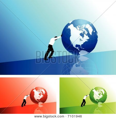 Businessman Pushing Icon Uphill