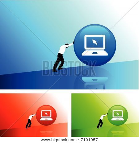 Businessman Pushing Icon Uphill