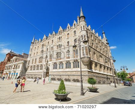 Tourist visiting Botines Palace in Leon Spain on August 22 2014.