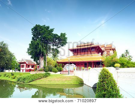 Bang Pa In ancient palace, former royal summer residence of Thai King near Ayutthaya and Bangkok, Thailand