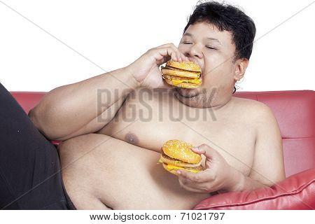 Fat Man Eats Two Hamburgers 2