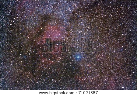the star Deneb and the nebulae nearby