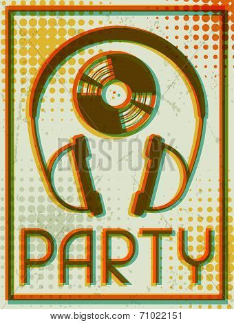Party retro poster in flat design style