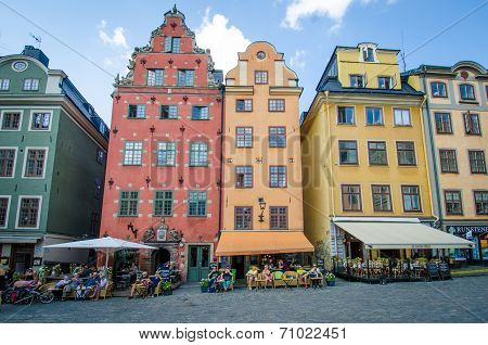 Cafe scene in the Old Town in Stockholm, Sweden
