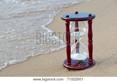 sand timer on the seashore