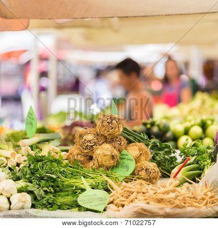 Farmer's market stall.