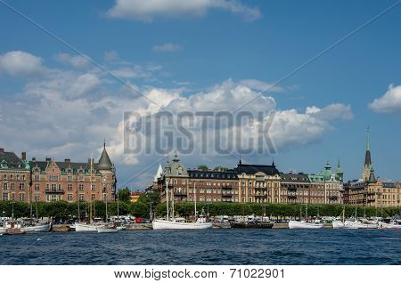 Quay of Old Town in Stockholm, Sweden