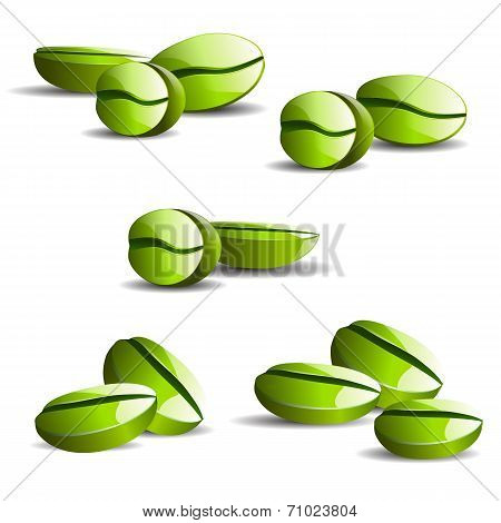 single coffee green bean with leaf isolated